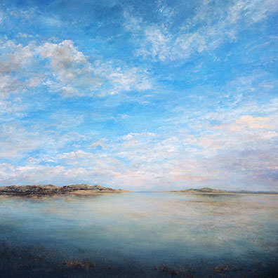 A huge painting of the Norfolk saltmarsh with a vast sunny sky. 120 x 120 cm.