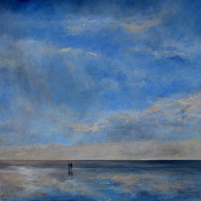 A painting of Holkham beach for some newly weds, 40x40cm.