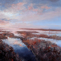 Over the Marshes -  Oil on Board. 30 x 30 cm.