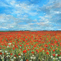 Norfolk Poppy Field - Oil on Board. 60 x 60 cm.