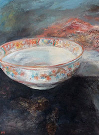 China Bowl on Black Velvet- Oil on Board. 30x30cm