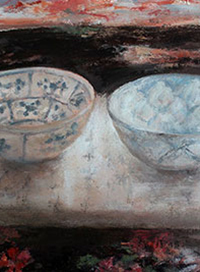 Two Bowls-Oil on Board.  21x24cm