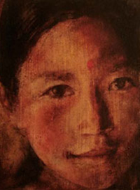 Nepal Smile - Oil on Board . 20x22cm.